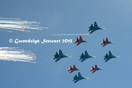 Russian Planes Flying Into Red Square, Photographed by Gwendolyn Stewart, c. 2015; All Rights  Reserved