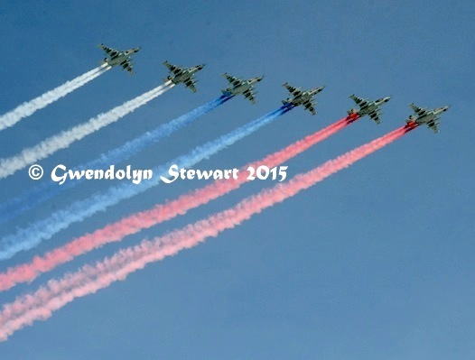 Russian Planes Rehearsing for the 70th Victory Anniversary Celebrations, Photographed by Gwendolyn Stewart c. 2015; All Rights Reserved