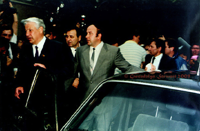 Boris Yeltsin Returns to His Car  after Voting in the 1991 Presidential Election, Moscow, Photographed by Gwendolyn Stewart,  c. 2009; All Rights Reserved
