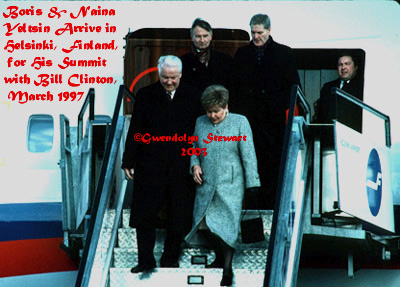 BORIS & NAINA YELTSIN Arrive for the Helsinki  Summit, March 1997; Photograph by GWENDOLYN STEWART c. 2014; All Rights  Reserved