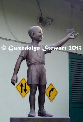 Statue of the Boy Barack Obama (Barry Sutoro), Jakarta, Indonesia, Photographed by Gwendolyn Stewart c. 2013; All Rights Reserved