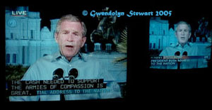 Photograph of George W. Bush Televised from New Orleans, � Gwendolyn  Stewart 2009; All Rights Reserved