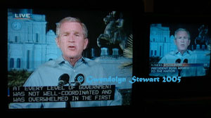 Photograph of George W. Bush Televised from New Orleans, c. Gwendolyn Stewart 2009; All Rights Reserved
