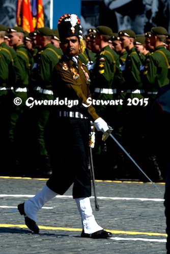 Indian Grenadier Marches in the 70th Anniversary Parade, Photographed by Gwendolyn Stewart, c. 2015; All Rights Reserved