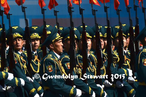 Kyrgyz Delegation Marches in the 70th Anniversary Victory Parade, Photographed by Gwendolyn Stewart, c. 2015; All Rights Reserved