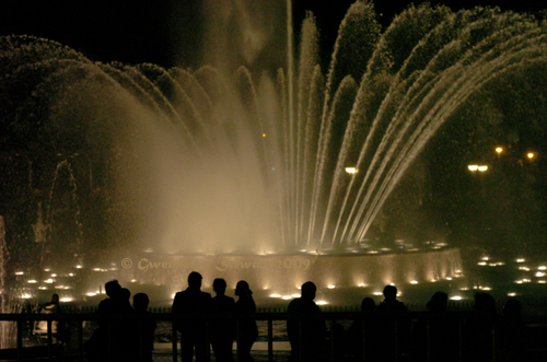 Waterworks and Lightshow in Lima, Peru, Photographed by  Gwendolyn Stewart, c. 2013; All Rights Reserved