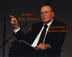 Photograph of  Robert McNamara at the JFK Library, by Gwendolyn Stewart, c. 2009; All Rights  Reserved