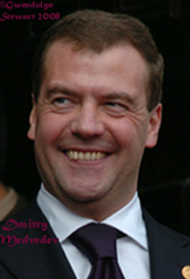 Photograph of Russian  President Dmitry Medvedev by Gwendolyn Stewart, c. 2009; All Rights  Reserved