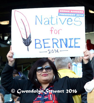 Natives for Bernie Sign, Sanders Rally, Safeco Field, Seattle, Washington, Photographed by Gwendolyn Stewart, c. 2016; All Rights Reserved