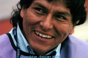 Peruvian Photographer Photographed at the 2008 APEC Summit in Lima,  Peru, by Gwendolyn Stewart, c. 2013; All Rights Reserved