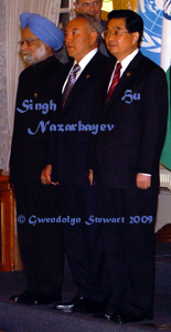 Indian Prime Minister Manmohan Singh, Kazakhstan President Nursultan Nazarbayev,  and Chinese President Hu Jintao Photographed by Gwendolyn Stewart, c. 2009; All  Rights Reserved