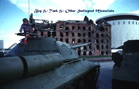 Photograph of BOY & TANK & Other World War II BATTLE OF STALINGRAD  MEMORIALS, Volgograd, Russia, by GWENDOLYN STEWART, c. 2009; All Rights  Reserved