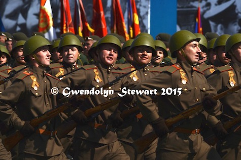 70th Anniversary Russian Troops in World War II Uniforms and Helmets, Photographed by Gwendolyn Stewart, c. 2015; All Rights Reserved