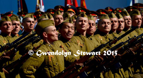 70th Anniversary Russian Troops In World War II Uniforms and Side Caps, Photographed by Gwendolyn Stewart, c. 2015; All Rights  Reserved