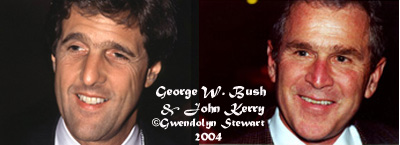 Photographs of Senator John Kerry  and President George W. Bush c. 2009 by Gwendolyn Stewart; All Rights  Reserved