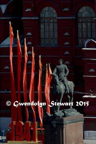 Marshal Zhukov Statute and Flags Celebrating the 70th Anniversary of the Soviet Victory over Nazi Germany, Photographed by Gwendolyn Stewart c. 2015; All Rights Reserved